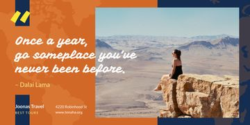 Travel Quote Woman Sitting on Rock Top