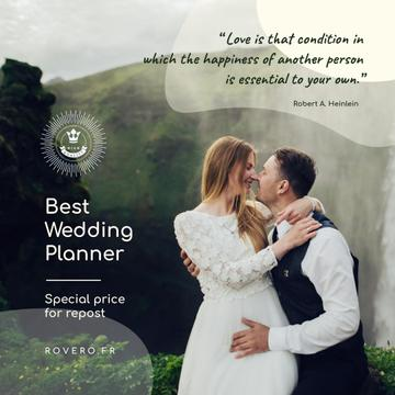 Wedding Planning Services Newlyweds Kissing in Nature