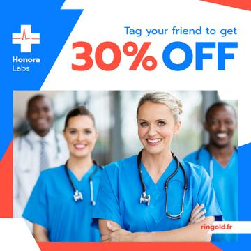 Clinic Promotion Smiling Doctors Team with Stethoscopes