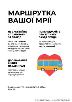 Public Transport Announcement with Bus in Heart Symbol