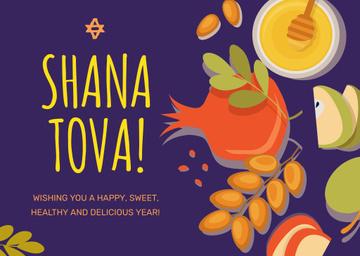 Rosh Hashanah Greeting Apples with Honey
