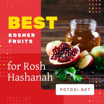 Rosh Hashanah Greeting with Apples and Pomegranate