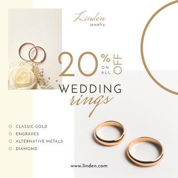 Wedding Offer Golden Rings on White
