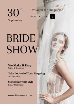 Wedding Fashion Show Invitation Bride in White Dress