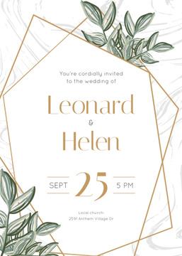 Wedding Invitation Elegant Floral Frame