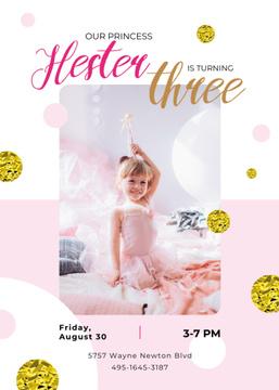 Kid Birthday Invitation Girl in Princess Dress