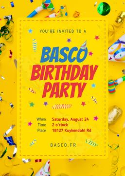 Birthday Party Invitation Confetti and Ribbons in Yellow