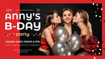 Birthday Party Invitation Girls with Balloons
