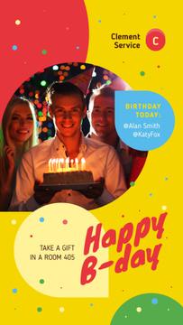 Birthday Invitation Man Blowing Candles on Cake