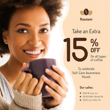 Self-Care Awareness Month Cafe Promotion Woman with Cup