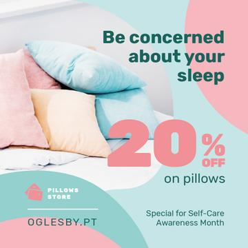 Self-Care Awareness Month Textile Offer Pillows on Sofa
