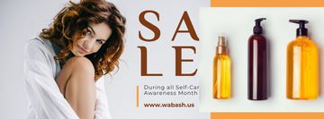 Self-Care Awareness Month Woman with Skincare Products