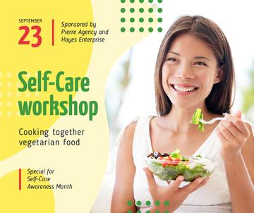 Self-Care Awareness Month Woman Eating Healthy Meal