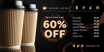 Coffee Shop Promotion with Cups Coffee To-go