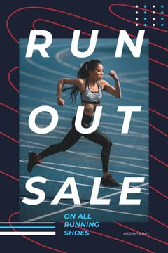 Running Shoes Sale with Woman Runner at Stadium