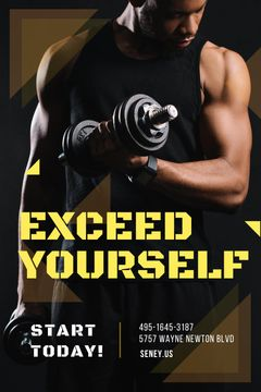 Gym Promotion Man Lifting Dumbbells