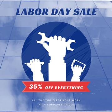 Labor Day Sale with Hands and Tools