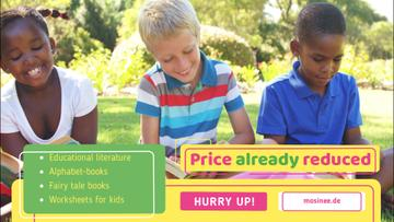 School Supplies Sale with Happy Kids Reading