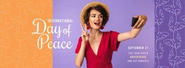 International Day of Peace Happy Woman Taking Selfie