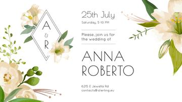 Wedding Invitation Tender Flowers Frame