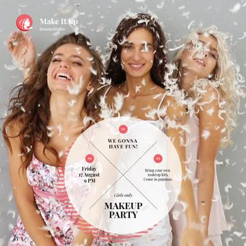 Makeup Party Invitation with Girls Having Fun in Feathers