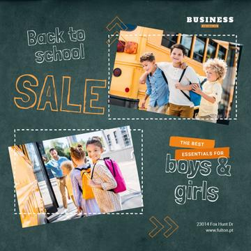 Back to School Sale Kids by School Bus