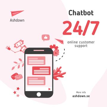 Online Customers Support Chat on Phone Screen