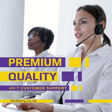 Customers Support with Smiling Assistant in Headset
