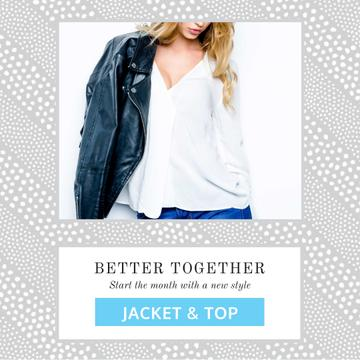 Fashion Ad with Woman in Shirt and Leather Jacket