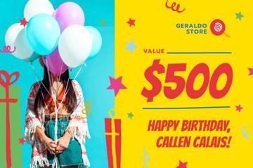 Birthday Sale with Girl with Balloons