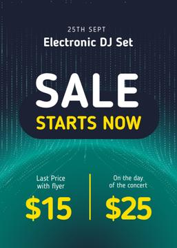 Electronic DJ Set Tickets Offer in Blue
