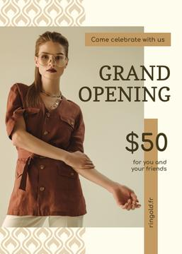 Grand Opening Fashionable Woman in Brown Outfit