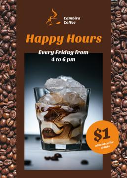 Coffee Shop Happy Hours Iced Latte in Glass