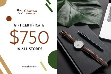 Accessories Store Offer with Watch and Notebook