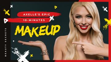 Makeup Tutorial Woman with Red Lips Pointing