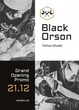 Tattoo Studio Ad Man Getting Tattoo in Black and White