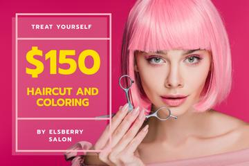 Hairstyle Offer Girl with Pink Hair