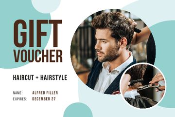 Hair Salon Offer with Man Cutting Hair