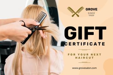 Hair Studio Ad with Hairstylist Cutting Hair