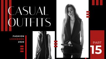 Fashion Ad Young Woman in Black Clothes