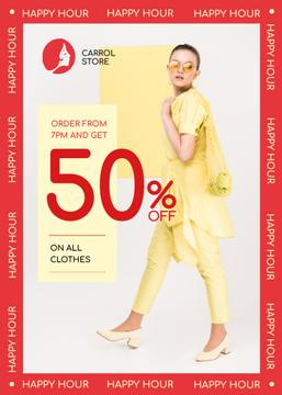Clothes Shop Happy Hour Offer Woman in Yellow Outfit