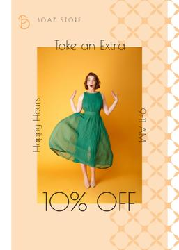 Clothes Shop Happy Hour Offer Woman in Green Dress