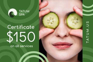 Spa Offer with Woman with Cucumbers on Face