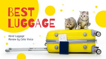 Luggage Ad Kittens on Suitcase in Yellow