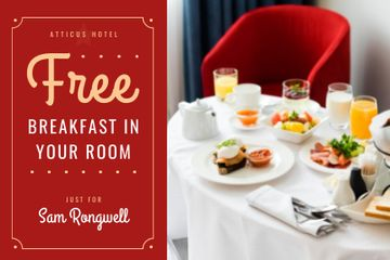 Hotel Breakfast Offer in White and Red