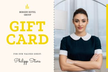 Hotel Card with Confident Professional Maid