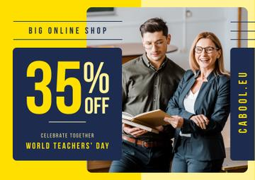 World Teachers' Day Sale Student and Teacher with Book