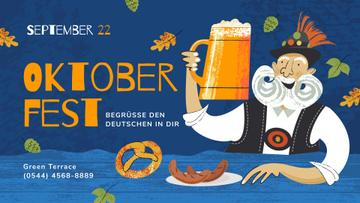 Oktoberfest Offer Man with Beer Mug and Snacks