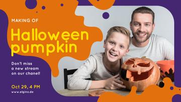 Halloween Workshop Father and Son Carving Pumpkin
