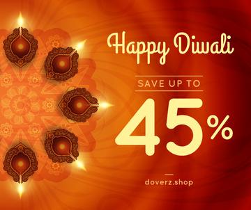 Happy Diwali Greeting Glowing Lamps